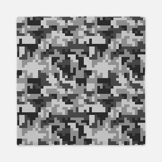 Urban Grey Pixel Camo pattern Queen Duvet