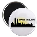 """Imagine No Religion Twin Towers 2.25"""" Magnet"""