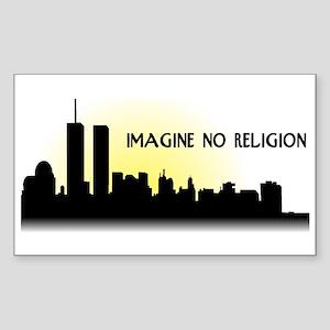 Imagine No Religion Twin Towers Sticker (Rectangle