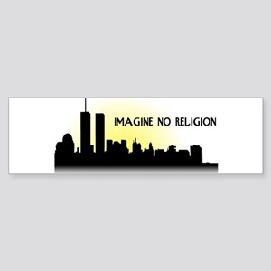 Imagine No Religion Twin Towers Sticker (Bumper)