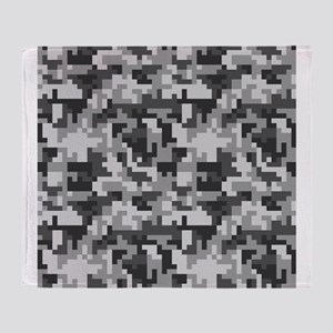 Urban Grey Pixel Camo pattern Throw Blanket