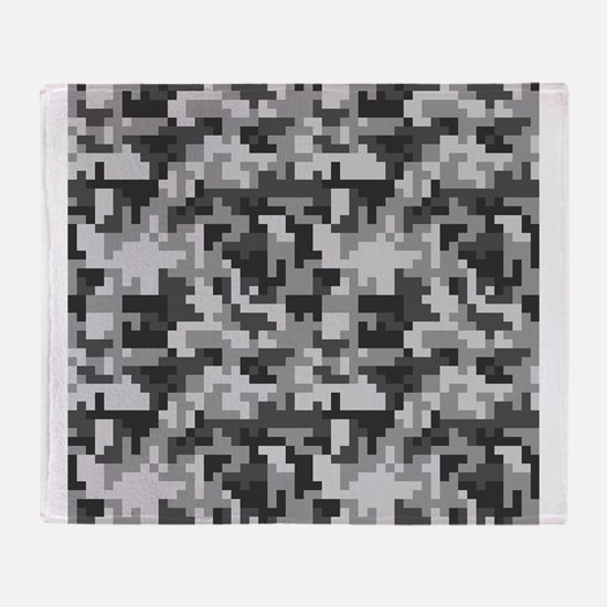 Urban Grey Pixel Camo pattern Throw Blanket