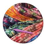 crochet afghan Round Car Magnet