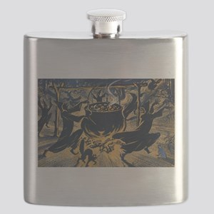 Vintage Halloween Witches Flask