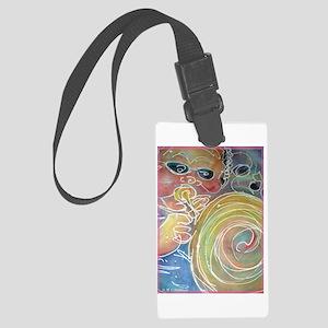 Music! Bright, fun art! Large Luggage Tag