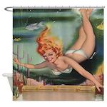 Vintage Underwater Diver Shower Curtain