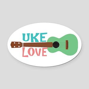 Uke Love Oval Car Magnet