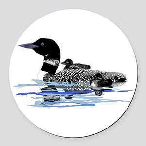 loon with babies Round Car Magnet