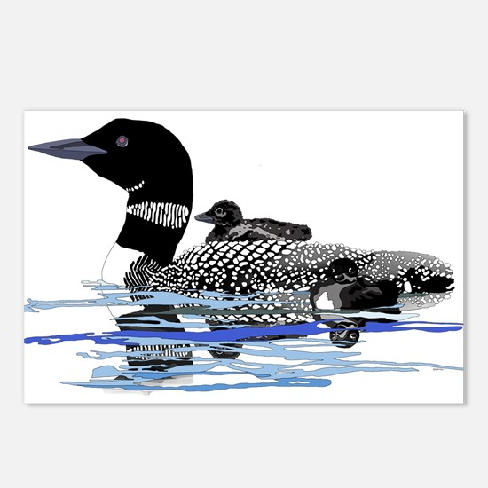 loon with babies Postcards (Package of 8)