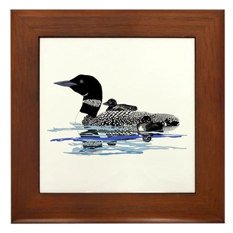 loon with babies Framed Tile