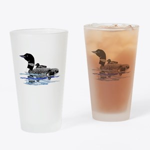 loon with babies Drinking Glass