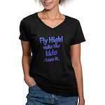 FlyHigh Women's V-Neck Dark T-Shirt