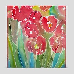 Flowers! Colorful art! Tile Coaster