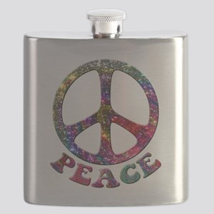 Jewelled Peace Symbol Flask