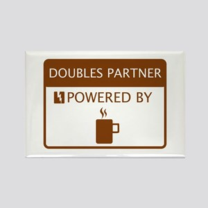 Doubles Partner Powered by Coffee Rectangle Magnet