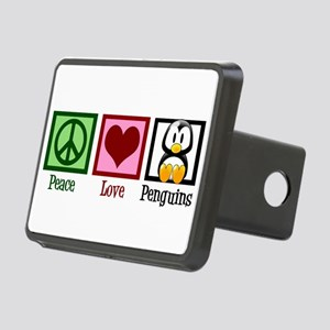 Peace Love Penguins Rectangular Hitch Cover