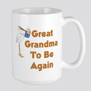 Stork Great Grandma To Be Again Large Mug