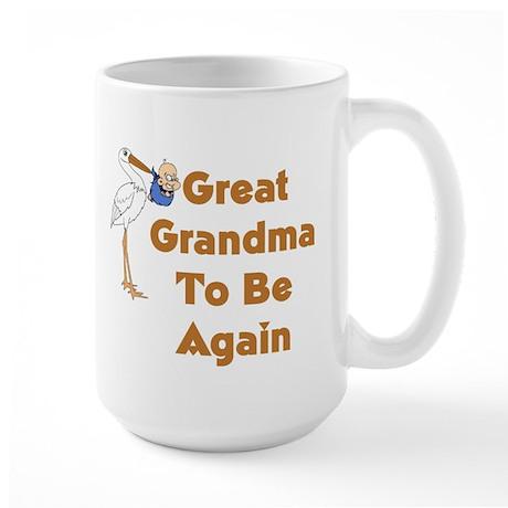 Stork Great Grandma To Be Again Large Mug