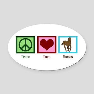 Peace Love Horses Oval Car Magnet