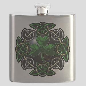 Celtic St Patricks Day square Flask