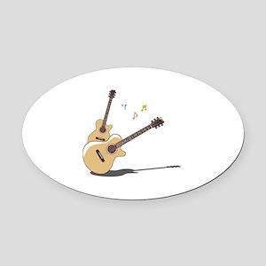 Guitar Oval Car Magnet