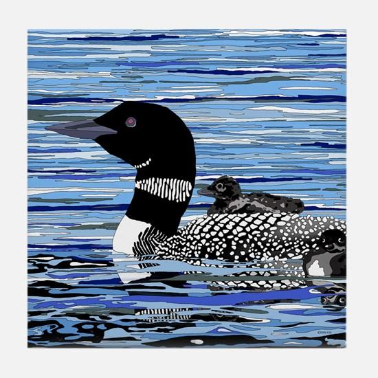 loon with babies Tile Coaster