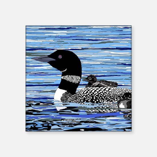 "loon with babies Square Sticker 3"" x 3"""