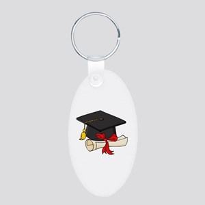 Graduation Aluminum Oval Keychain