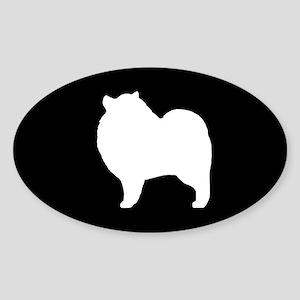 Keeshond Silhouette Sticker (Oval)