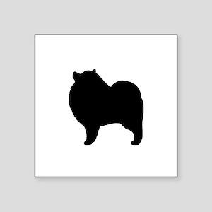 "Keeshond Silhouette Square Sticker 3"" x 3"""