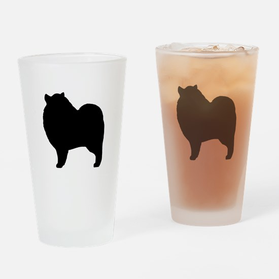 Keeshond Silhouette Drinking Glass