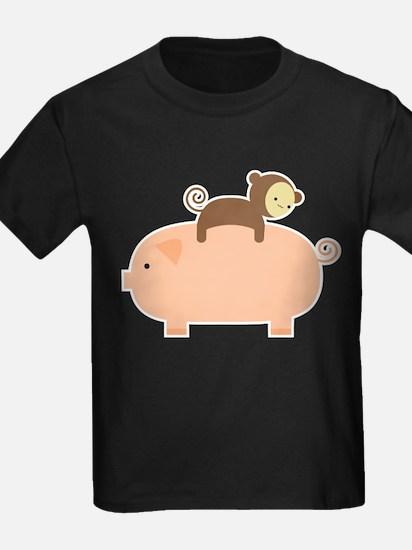 Baby Monkey Riding Backwards on a Pig T