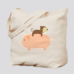 Baby Monkey Riding Backwards on a Pig Tote Bag