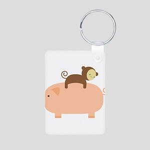 Baby Monkey Riding Backwards on a Pig Aluminum Pho