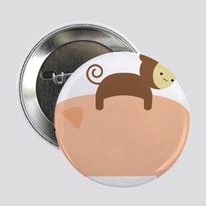 """Baby Monkey Riding Backwards on a Pig 2.25"""" Button"""
