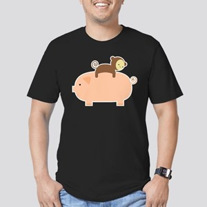 Baby Monkey Riding Backwards on a Pig Men's Fitted