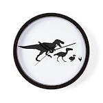 Dino Chicken Black Wall Clock
