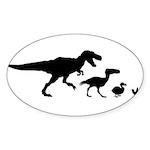 Dino Chicken Black Sticker (Oval 50 pk)