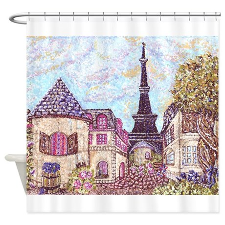 ParisCityscapePointillism021511 Shower Curtain