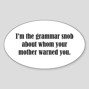 Grammar Snob Oval Sticker
