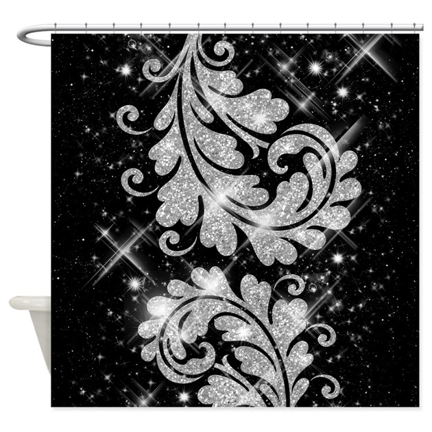 Faux glitter floral swirl silver shower curtain by for Black and silver bathroom accessories