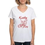 Kathy On Fire Women's V-Neck T-Shirt