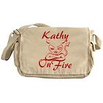 Kathy On Fire Messenger Bag