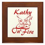 Kathy On Fire Framed Tile