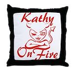 Kathy On Fire Throw Pillow