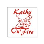Kathy On Fire Square Sticker 3