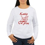 Katie On Fire Women's Long Sleeve T-Shirt