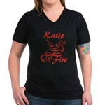 Katie On Fire Women's V-Neck Dark T-Shirt