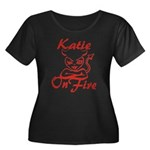 Katie On Fire Women's Plus Size Scoop Neck Dark T-
