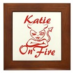 Katie On Fire Framed Tile